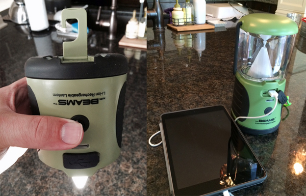 Lantern can charge USB powered devices, like my iPad Mini. You can also hang it with the built-in lift hook.